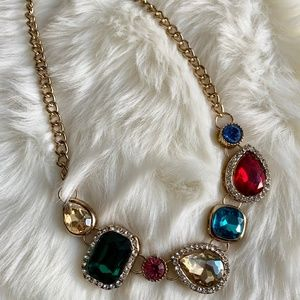 Charming Charlie Multi-Color Jewel Gold Necklace